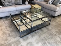 Glass & Antiqued Mirror Coffee Table, Black Metal Frame AS IS Los Angeles