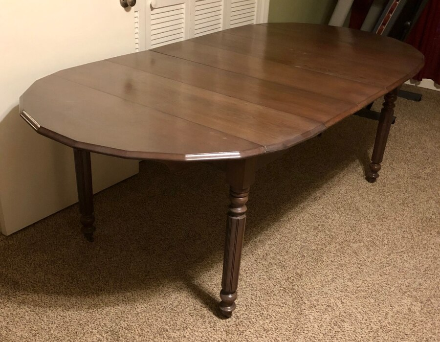 Photo ANTIQUE SOLID WOOD OVAL DINING TABLE 3 REMOVABLE LEAVES + DROP LEAVES