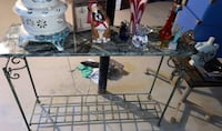 Wrought iron table w marble top