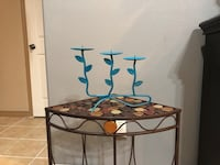 Teal metal candle holder  China, 77713