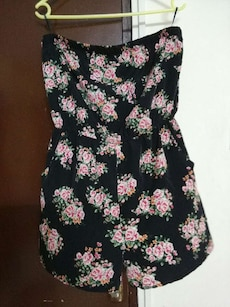 black and pink floral v-neck spaghetti strap rompers