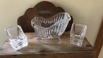 SET OF 3 HEAVY LEAD CRYSTAL GLASS SLEDS