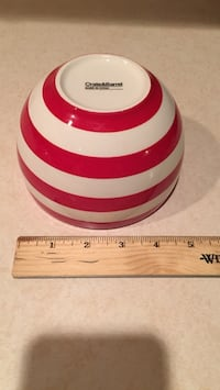white and red stripes ceramic bowl by Crate & Barrel