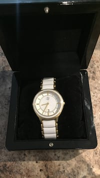 Mercedes-Benz white and gold watch
