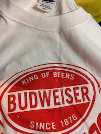 White and red budweiser crew neck shirt.