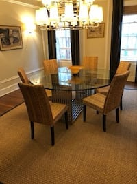 Large glass top dining table