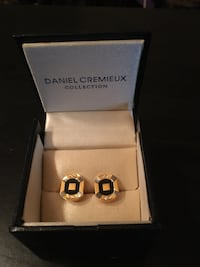 Daniel Cremieux gold tone stainless/enamel cuff links in box never used