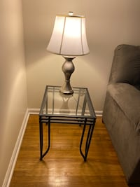 Glass Table Set & Two Lamps