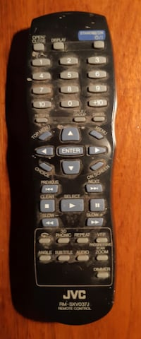 JVC DVD Player Remote Control   Part number:  RM-SXV037J  Compatible with DVD player models:  RM-SXV037J, RMSXV037J, RTRMSXV037J, XVN40BK, XVN44SL, XVN44SLA  In good, functional pre-owned condition.  (Ref # Bx 2/eb)