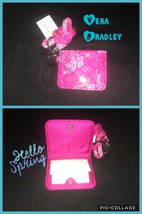 pink and white floral Vera Bradley leather bifold wallet collage