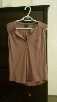 women's brown button-up sleeveless top Vancouver, V6T