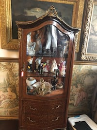 Antique French curio display cabinet with two drawers  Toronto, M2R 3N1