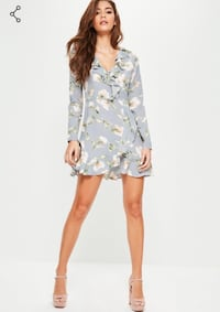 blue and white floral wrap-around long-sleeves dress screenshot