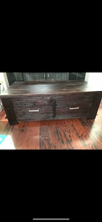 brown wooden 2-drawer chest (see my other listing for end table) 300 if buy together Houston, 77057