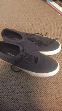 Pair of heather gray Polo by Ralph Lauren low-top sneakers