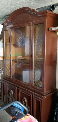 brown wooden framed glass display cabinet Toronto, M3N 1B9
