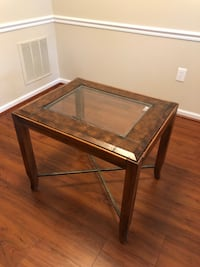 Wooden/Leather Side Table Pair