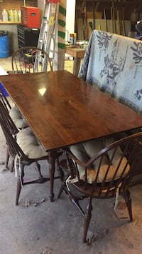Rectangular antique table with four chairs dining set Bristow, 20136