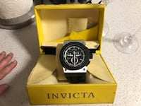 Round black chronograph watch with black strap Los Angeles, 90068
