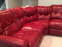 Red leather tufted sectional with recliners Sterling, 20165