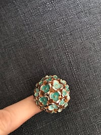 Enamel cocktail ring, stretch band. Ombre tiffany blue Winchester, 22601