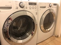 white LG front-load washer and dryer set