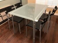 rectangular white wooden table with four chairs dining set Toronto, M1B 2C9