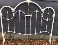 White and gold antique bed frame