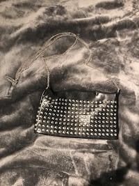silver studded black leather crossbody bag
