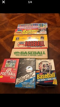 Vintage baseball logo stickers and trading card