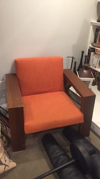 brown wooden frame Orange padded armchair (2 available) Washington, 20017