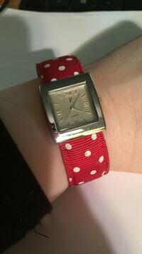 square silver analog watch with red leather strap Bealeton, 22712