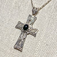 Sterling Silver Black Onyx Cross with Sterling Chain Ashburn