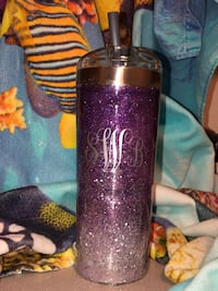 Customized monogram 24 ounce tumbler with straw Williamsburg