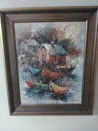 brown wooden framed painting of house Markham, L3T 5G1