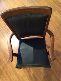 Chair antique wood real black leather