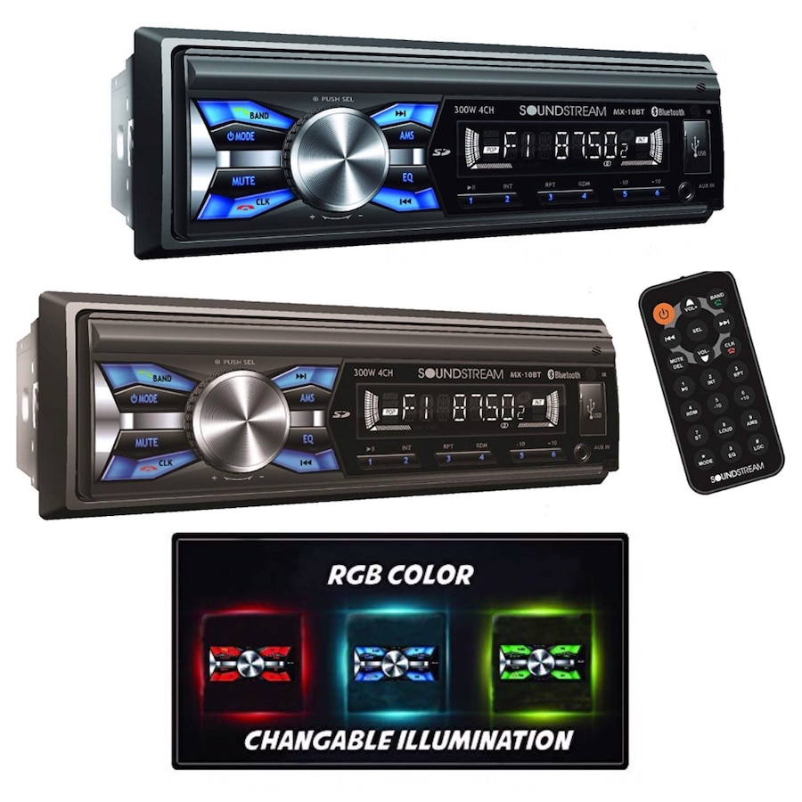 Soundstream MX-10BT Car Digital Media Player Stereo Receiver with Built-in Bluetooth Hands-Free Calling Music Streaming USB AUX SD Card Inputs RGB Multi-Color Illumination AM FM Radio Remote Control