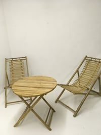 Bamboo relaxing chairs w/ table