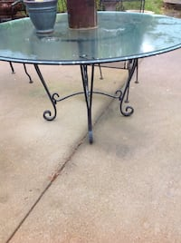 Black steel scroll framed round glass top patio table in for 13 inch round glass table top