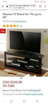 black glass and wood z-line tv stand  Windsor, N8T 1T1