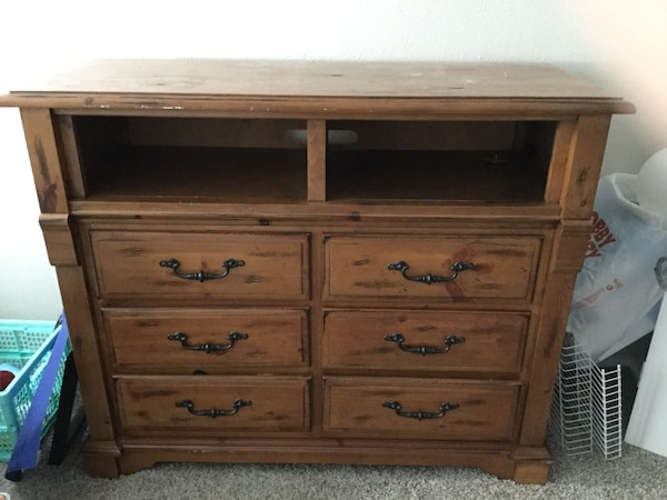 Used Wooden 6 Drawer Dresser Tv Stand Armoir For Sale In Arlington