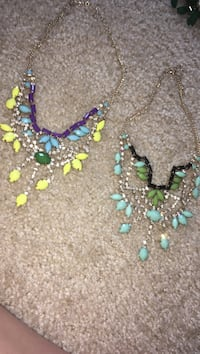 green-and-teal and yellow-and-blue beaded bib necklaces