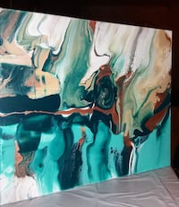 White, teal and green abstract painting 16x20 Granite City, 62040