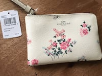 white and pink floral leather wristlet Oro-Medonte, L0K