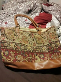 women's brown and white floral tote bag Canton