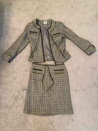 Anna Sui Suit W/ Gold - Gray Herringbone Tweed W/ Trim Skirt  Courtice, L1E 2X3