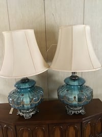 Pair of Vintage Accurate Casting Co Blue Glass Lamps Brass Tone Detail Cream Shades Scottsdale, 85251