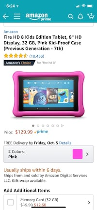 Amazon fire 8 HD kids tablet with case  Valencia, 91381