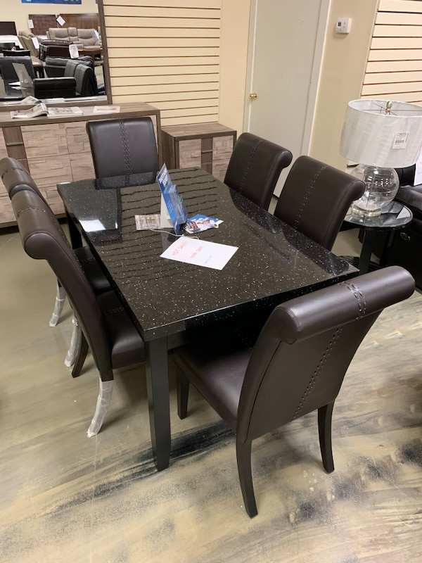 Marble Top Wooden Dining Table Set With 6 Chairs Brand New In Box Big Sale