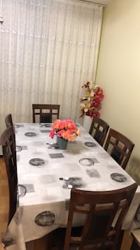 rectangular brown wooden table with six chairs dining set Toronto, M3J 1M7